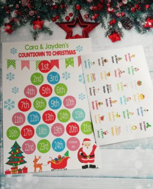 Personalised Countdown to Christmas Chart Calendar and Stickers